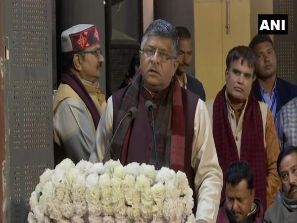 Ravi Shankar Prasad addressing the gathering in Patna on Sunday.