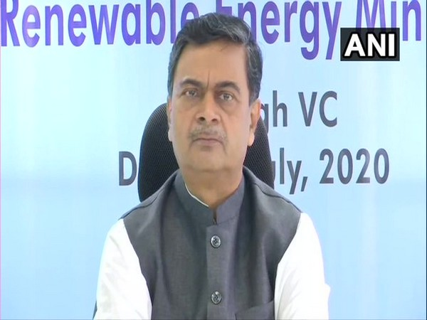 Union Power Minister RK Singh addressing a press conference on Friday in New Delhi. Photo/ANI