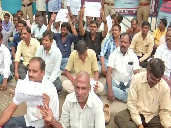 RTC workers on strike on Wednesday. Photo/ANI
