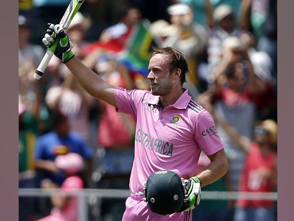 AB de Villiers celebrating his century against West Indies in 2015