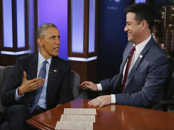 Former US President Barack Obama talks with show host Jimmy Kimmel