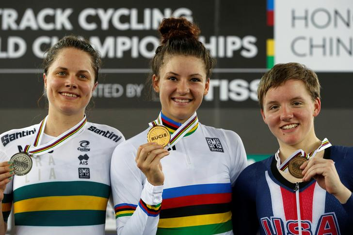 U.S cyclist Kelly Catlin at the extreme right