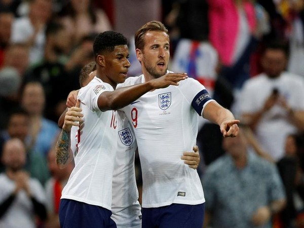 England's Marcus Rashford along with Harry Kane