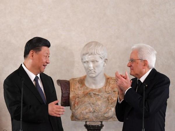 Chinese President Xi Jinping and Italy president Sergio Mattarella