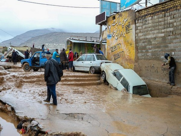 Vehicles damaged in flash flooding in Shiraz, Iran
