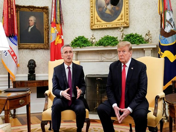 U.S. President Donald Trump speaks while meeting with NATO Secretary General Jens Stoltenberg in the Oval Office at the White House in Washington, in April