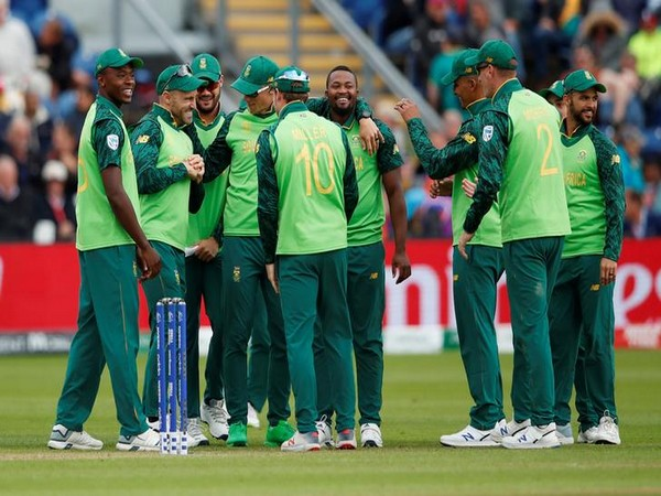 South Africa team celebrating after taking wicket of Afghanistan's Hashmatullah Shahidi on Saturday.