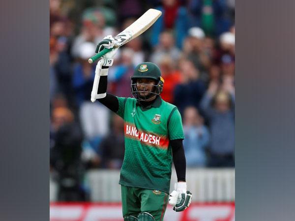 Shakib Al Hasan celebrating after scoring century against West Indies.