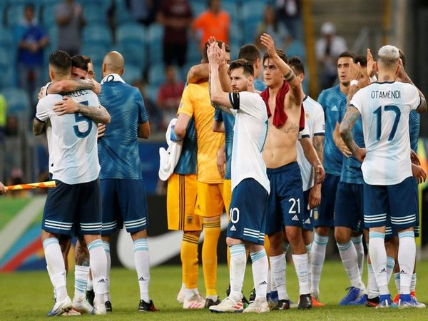Argentina players celebrating after their win against Qatar