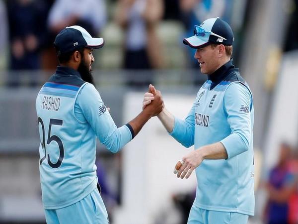 England's Adil Rashid (left) with skipper Eoin Morgan (right)