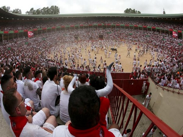 People watch a bullfight during the San Fermin annual festival in Pamplona on Sunday.