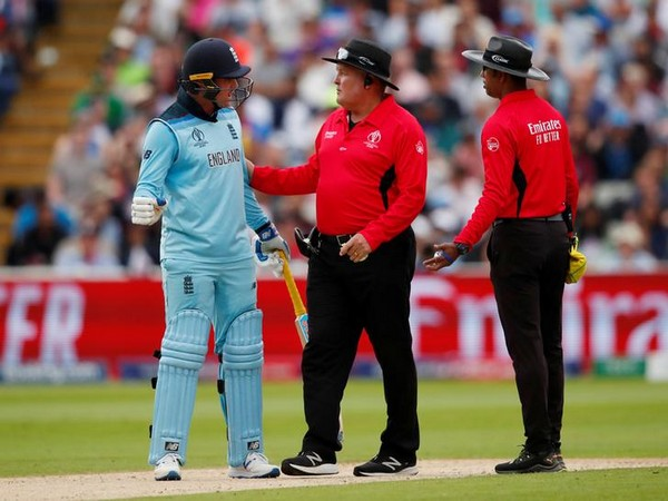 England batsman Jason Roy with on-field umpires during semi-final match against Australia at Edgbaston on Thursday.