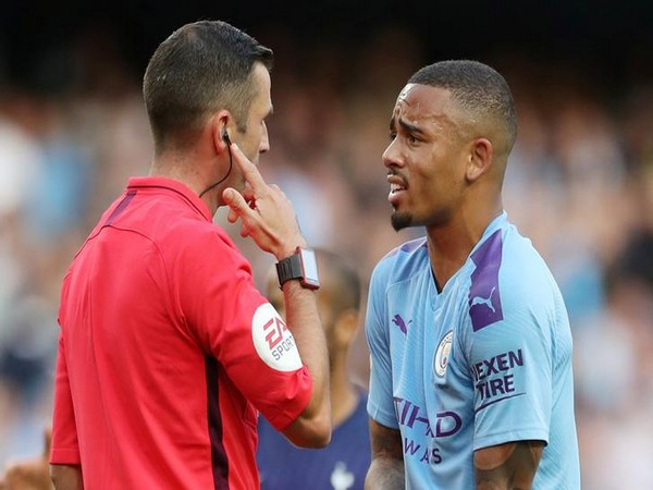 Manchester City's Gabriel Jesus remonstrating with referee Michael Oliver after the match against Tottenham