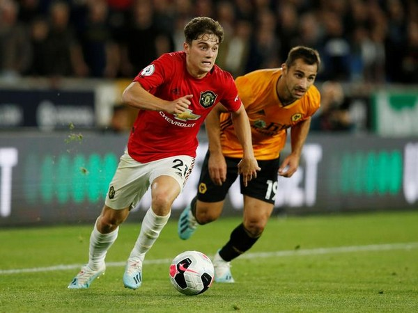 Manchester United's Daniel James in action with Wolverhampton Wanderers' Jonny
