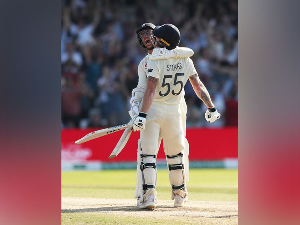 England's Ben Stokes and Jack Leach celebrating after winning the third test against Australia