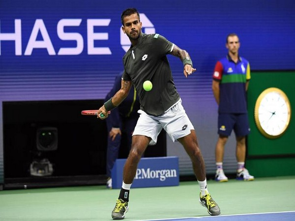 India's Sumit Nagal in action against Roger Federer in US Open
