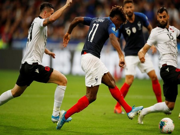 France's Kingsley Coman in action against Albania in Euro 2020 Qualifying match