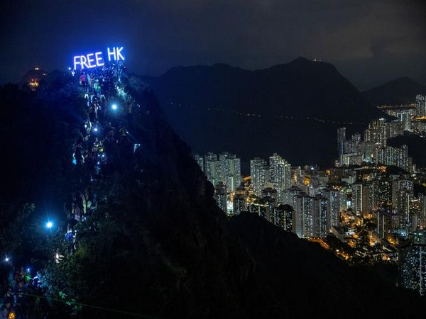 Anti-government protesters gather at Lion Rock, in Hong Kong