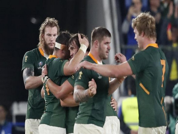 South Africa's rugby team celebrates after winning semi-final against Wales