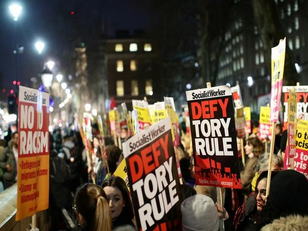 Protesters demonstrate at Downing Street following the result of the general election in London, Britain
