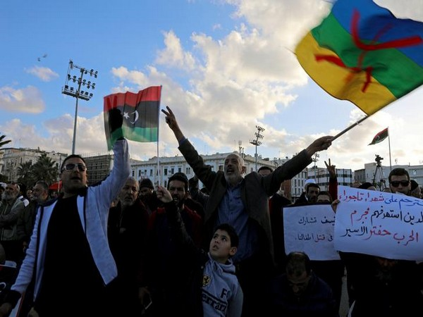 Libyan protesters shout slogans during a demonstration to demand an end to Khalifa Haftar's offensive against Tripoli