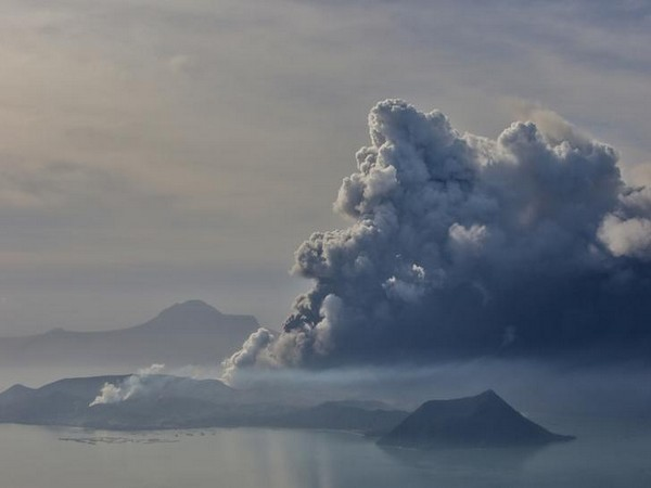 The errupting Taal Volcano is seen from Tagaytay City, Philippines, January 13, 2020