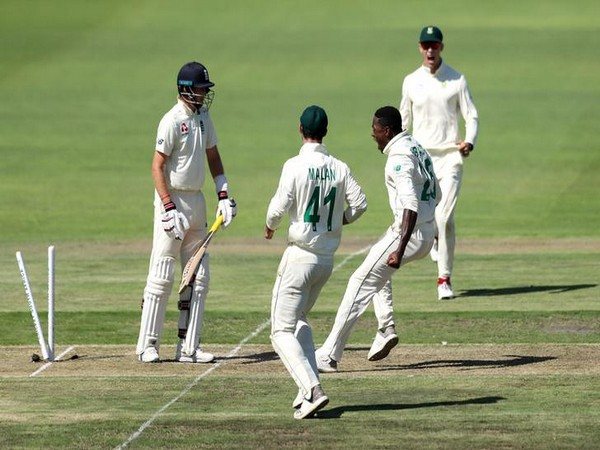Kagiso Rabada celebrating the dismissal of Joe Root on day one of third Test