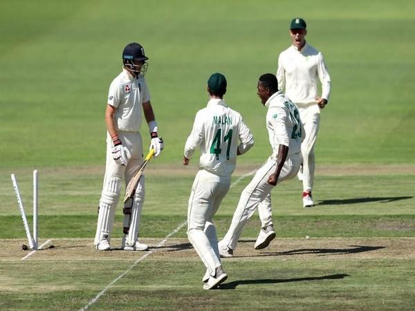 Kagiso Rabada celebrating the dismissal of Joe Root on day one of third Test