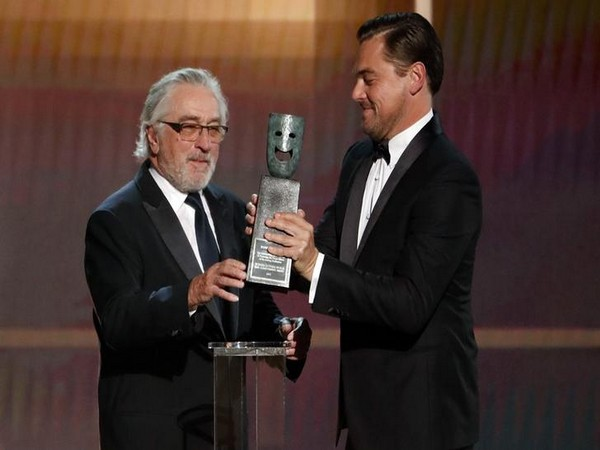 Robert De Niro receiving Lifetime Achievement Award by Leonardo DiCaprio.
