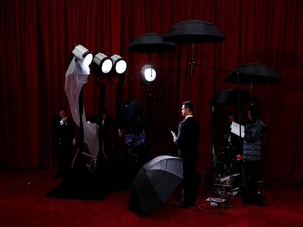 Rain pours down at the Dolby Theatre in Los Angeles.