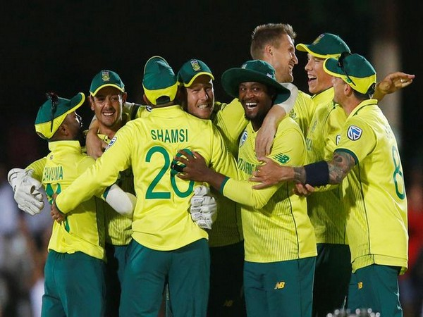 South Africa cricket team celebrates after winning first T20I against England in East London.