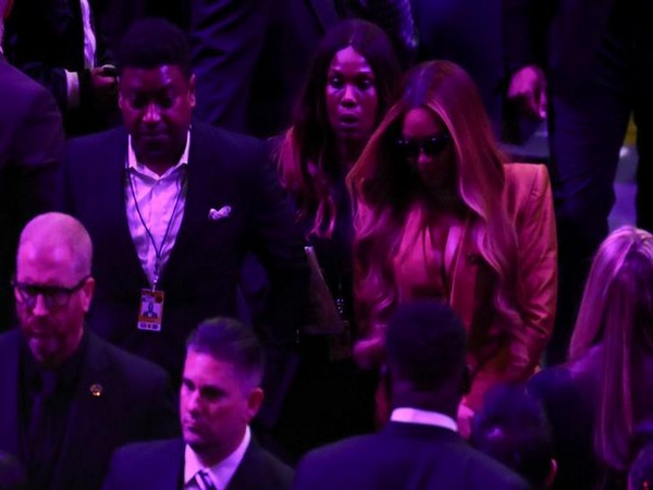 Singer Beyonce at the public memorial for NBA great Kobe Bryant, his daughter Gianna