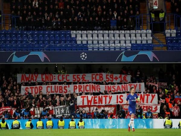 Bayern Munich fans protesting at Stamford Bridge on Tuesday.