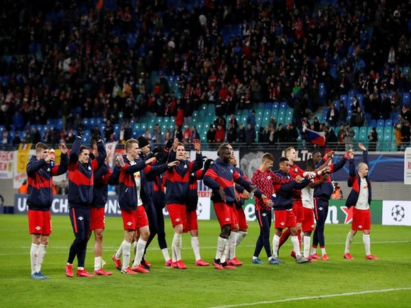 RB Leipzig players celebrate after the match