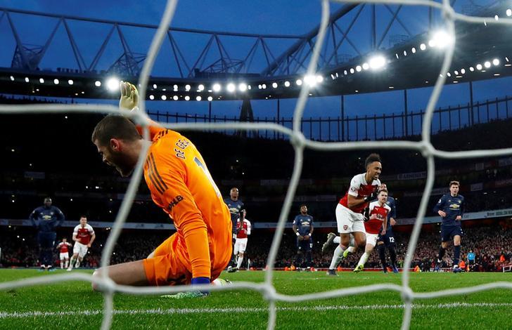 Man U's goalkeeper David de Gea conceding a goal