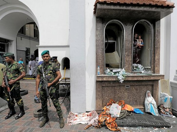 Security forces seen outside St. Anthony's church in Kochchikade, Sri Lanka, after the serial blasts