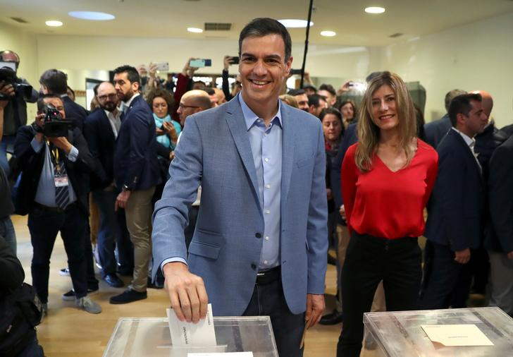 Incumbent Prime Minister and PSOE candidate Pedro Sanchez cast his ballot in Madrid