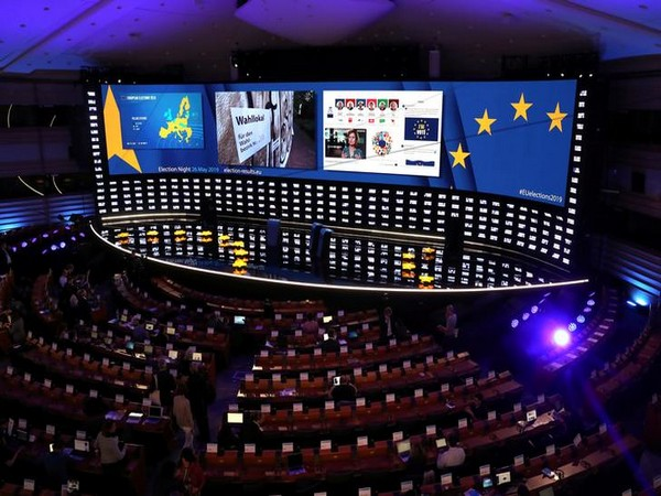 A general view of the stage at Plenary Hall before the election night at the European Parliament, in Brussels, Belgium. Photo/Reuters