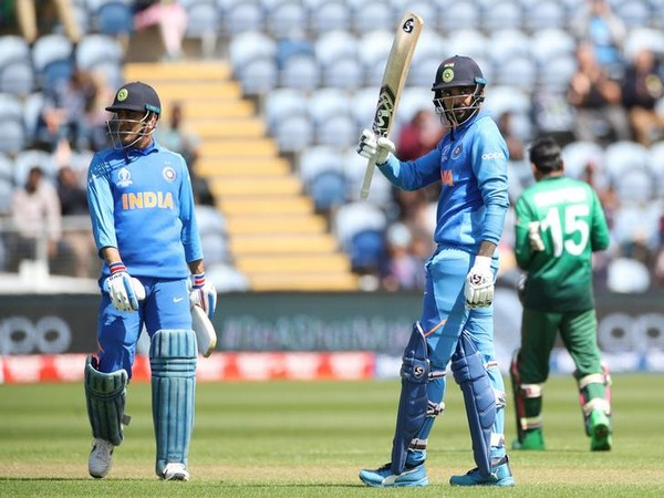 KL Rahul celebrates reaching his century in second warm-up match