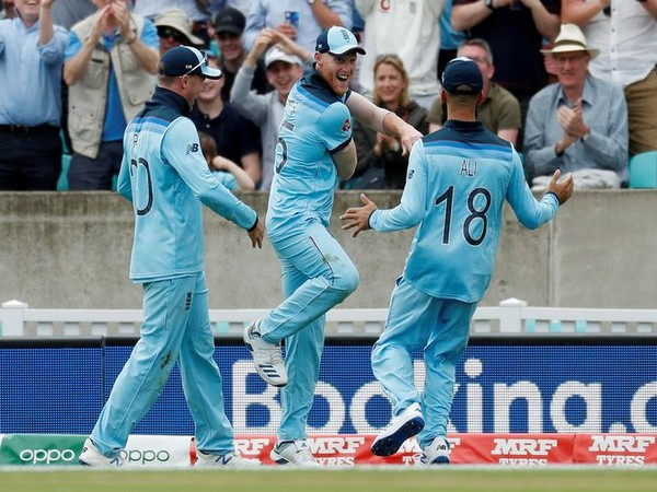 Ben Stokes celebrates after taking a stunning catch against South Africa