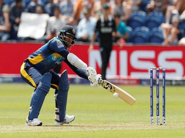 Sri Lanka skipper Dimuth Karunaratne in action against New Zealand in a World Cup match
