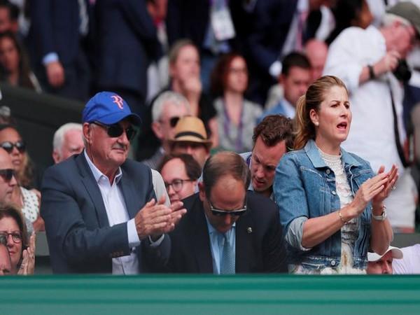 Roger Federer's wife Mirka Federer cheering for her husband during Wimbledon final on Sunday.