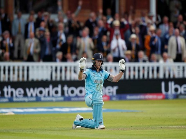 England's Ben Stokes reacting after the overthrow incident in the World Cup final against New Zealand