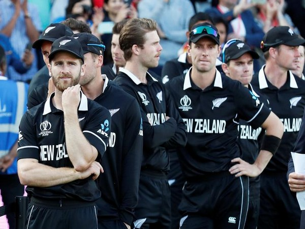 A dejected New Zealand men's cricket team after the World Cup final match