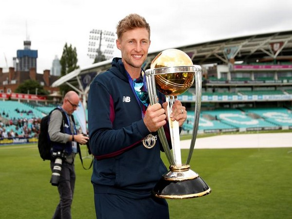 England batsman Joe Root with the 2019 World Cup trophy
