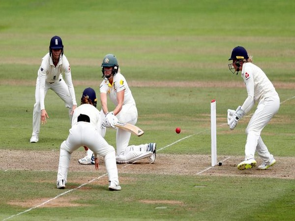 Australia's Ellyse Perry in action on Day One of the one-off Test against England