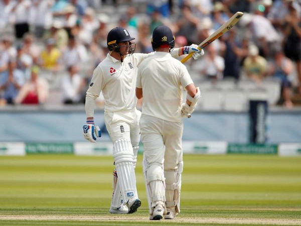 England's Jason Roy celebrates his maiden Test fifty at Lord's