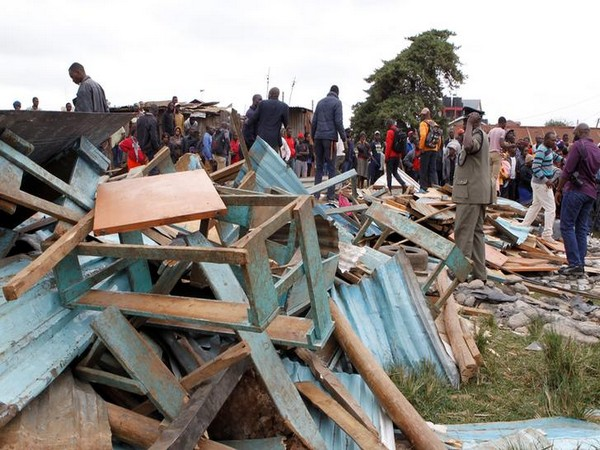 Debris of a collapsed school classroom in Nairobi