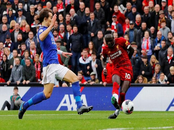 Liverpool's Sadio Mane scores team's first goal against Leicester City.