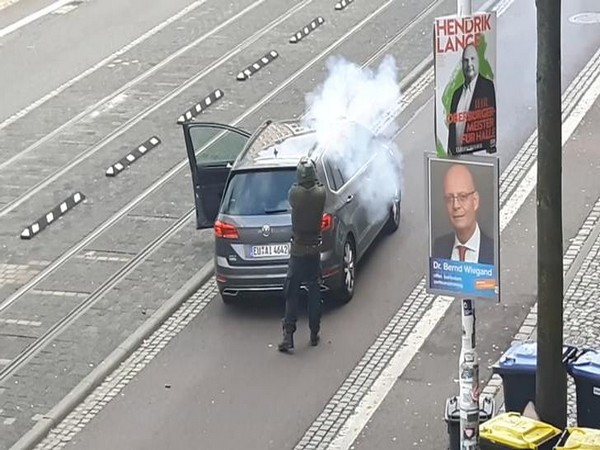 A screen grab taken from amateur video shows shooting in Halle, Germany,
